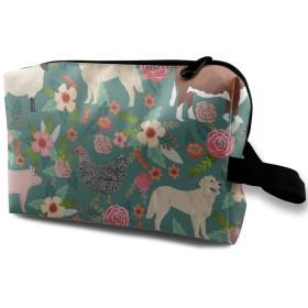 家畜と花 化粧バッグ 収納袋 女大容量 化粧品クラッチバッグ 収納 軽量 ウィンドジップ