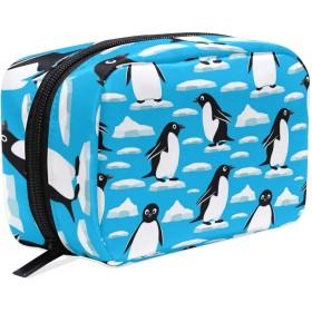 Carrozza 化粧ポーチ メイクボックス ポーチ 仕切り レディース 女の子 学生 おしゃれ ペンギン 動物 アイス 南極 化粧バッグ メイクポーチ 化粧ボックス コスメバッグ 小物ケース かわいい