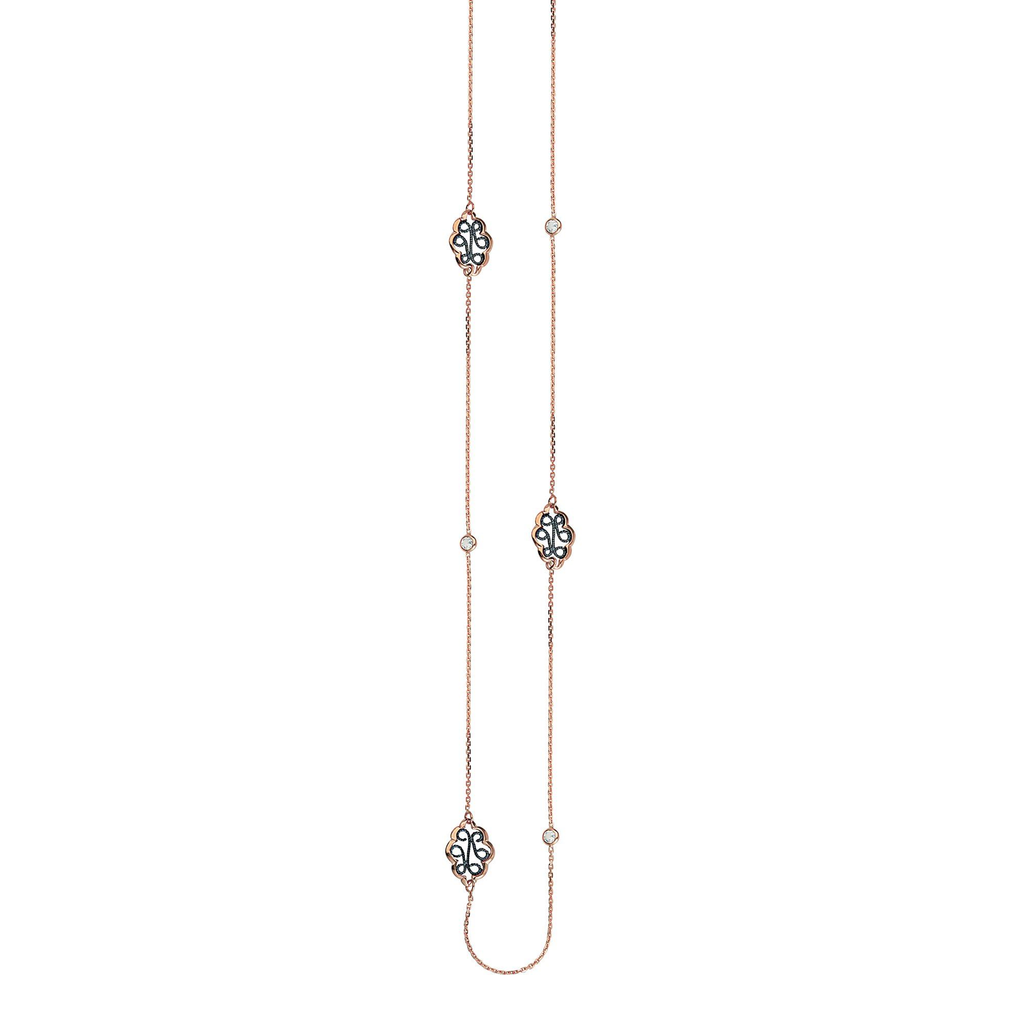 DiamondJewelryNY Silver Pendant Ss Longlngth Cz Blck Rhod Neck 36