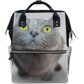 ママリュック 猫 かわいい 見つめる ミイラバッグ デイパック レディース 大容量 多機能 旅行用 看護バッグ 耐久性 防水 収納 調整可能 リュックサック 男女兼用