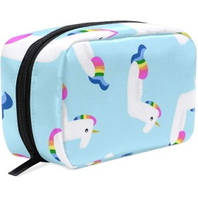 ポータブル トイレタリーバッグ 多機能化粧品バッグ 化粧 防水 旅行 たむろする 整理用バッグ女性女の子用 ユニコーン 水泳リング背景 Unicorn Swimming Floats