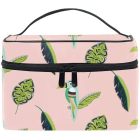 Toucan Bird And Leaves Pattern Seamlessコスメポーチ 化粧収納バッグ レディース 携帯便利 旅行 誕生日 プレゼント