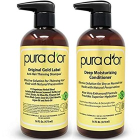 PURA D'OR Original Gold Label Shampoo & Conditioner for Anti-Thinning - Clinically Tested - Argan Oil, Biotin & Natural Ingredients, Sulfate Free, All Hair Types, Men & Women (Packaging may vary) [並行輸入品]