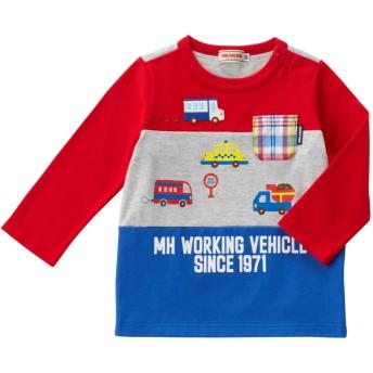 ミキハウス 【アウトレット】働く車 切り替え長袖Tシャツ 赤
