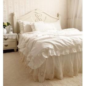 ベッドカバーセット 華美な刺繍模様レースコットンアイボリーベッドカバーセット (シングル)