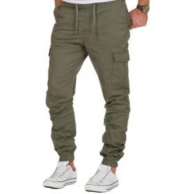 ジョガーパンツ メンズ カーゴパンツ ストレッチ チノパン テーパードパンツ スリム カジュアル ロング サルエルパンツ M-3XL green-XL
