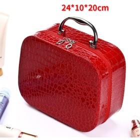 グリッド 化粧ポーチ メイクボックス, 化粧バッグ旅行 大容量 収納ボックス な 小さな ポータブル スーツケース女性 かわいい 防水 女性化粧品バッグ-レッドB 24x10x20cm(9x4x8inch)