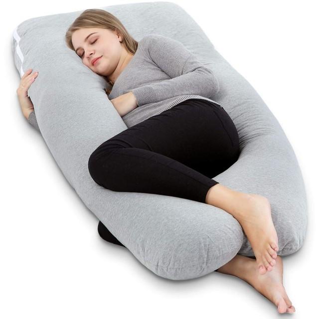 Meiz 抱きまくら U型 妊婦枕 マタニティ 抱かれ枕 もちもちクッション ボディピロー 背もたれ 洗える (グレー)