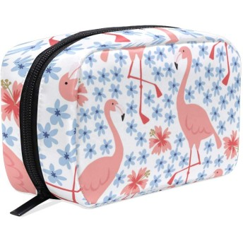 (VAWA) 化粧ポーチ 大容量 可愛い フラミンゴ柄 鳥柄 花柄 メイクポーチ コンパクト 機能的 おしゃれ 持ち運び コスメ収納 仕切り ミニポーチ バニティーケース 洗面道具 携帯用