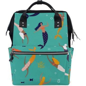 ANNSIN マザーズバッグ ママバッグ リュック バックパック ハンドバッグ 3WAY 多機能 防水 大容量 軽量 シンプル おしゃれ ベビー用品収納 出産準備 旅行 お出産祝い 人魚