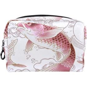 Dragon Sword 化粧ポーチ 魚 鯉 ピンク コスメポーチ メイクポーチ コンパクト ふわふわ 化粧品収納 小物入れ 18x7x13cm 出張 旅行 プレゼント