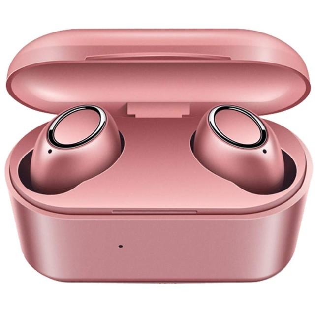 Bluetooth イヤホン 自動ペアリング 完全ワイヤレス イヤホン 両耳 左右分離型 軽量 マイク付き タッチ式 ノイズキャンセリング技適認証済 ブルートゥース イヤホン iPhone/iPad/Android対応 (ローズゴールド)