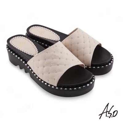 A.S.O時尚流行 夏季輕量菱紋車線裝飾時髦拖鞋-米
