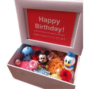 ディズニー 誕生日プレゼント 写真立て プリザーブドフラワー入りギフト フォトフレーム フラワーギフト キャラクター種類はおまかせ3個入り