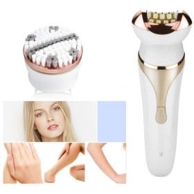 4-in-1多機能眉毛トリマー、女性の顔の毛の除去、かみそりの頭、マッサージヘッド、洗顔、毛穴を効果的にきれいにするビキニボディトリマー