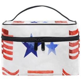 化粧ポーチ アメリカ 国旗 星条旗 大容量 かわいい おしゃれ 機能的 バニティポーチ 収納ケース ポーチ メイクポーチ ボックス 小物入れ 仕切り 旅行 出張 持ち運び便利 コンパクト