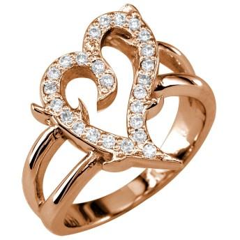 ダイヤモンド保護されたLoveハートリング14Kピンク、ローズゴールド
