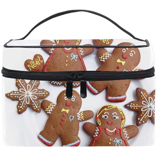 化粧ポーチ 機能的 大容量 オシャレ 祝い プレゼント ギフトChristmas Brown Biscuit