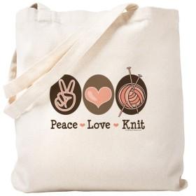 CafePress–Peace LoveニットKnitting–ナチュラルキャンバストートバッグ、布ショッピングバッグ S ベージュ 0177086417DECC2