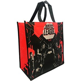 DC Comics Justice League BatmanレッドブラックSillouette withロゴトートバッグGroceryショッピングバッグ
