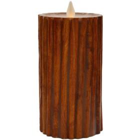 Hooga LifeシナモンスティックFlameless Candle–Real Waxピラー、電池式LEDちらつきウィック、タイマー–インドアの安全とアウトドア使用–リモートコントロールReady 5 Tall x 3 Diameter