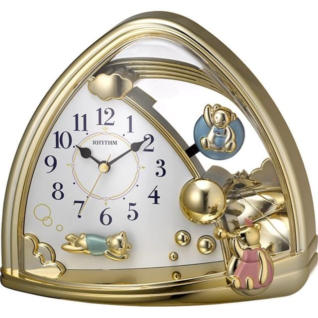 リズム時計 置き時計 アナログ ファンタジーランドSR クマの 振り子 金色 RHYTHM 4SG762SR18