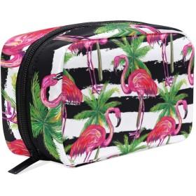 (VAWA) メイクポーチ 大容量 可愛い フラミンゴ ストライプ 柄 ハワイ風 化粧ポーチ コンパクト 機能 おしゃれ 携帯用 コスメ収納 仕切り ミニポーチ バニティーケース 洗面道具