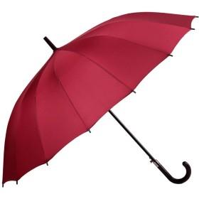 MUMUWU 雨傘 メンズ レディース 長傘 16本骨 104cm 水切れ良い ジャンプ傘 耐強風 超撥水 梅雨対策 シンプル 3色入 (Color : レッド, Size : フリー)
