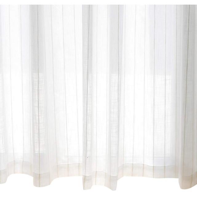 UVカット保温夜間見えにくいストライプミラーレースカーテンホワイトサイズ:(幅)100×(丈)60cm×2枚