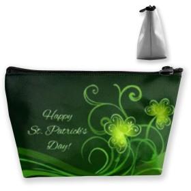 収納ポーチ ハッピー聖パトリックの日の美しい花 化粧ポーチ トラベルポーチ 小物入れ 小財布 防水 大容量 旅行 おしゃれ