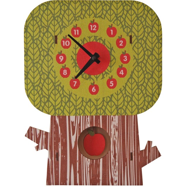 modern moose(モダン ムース) 3D ウォール クロック 壁掛け時計 手作り 振り子 りんごの木