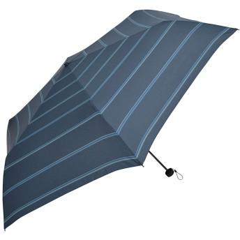 Nifty Colors 折りたたみ傘 ネイビー サイズ/約60cm×約106cm シャドー ボーダー 6本骨
