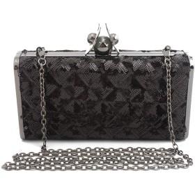 パーティーの光沢のある女性イブニングクラッチバッグブライダル結婚式の女性封筒ハンドバッグ箱入りプロムファッションバッグ小さなスクエアバッグ財布ギフト,black