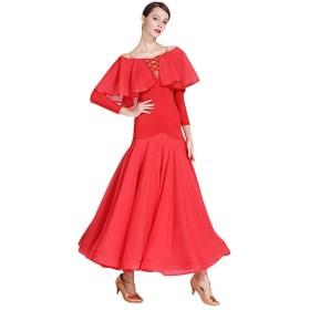 モダンダンスドレス アダルト  全国標準舞踊衣装 ビッグスイングスカート、 ワンワードカラー レオタード  ワルツドレス 練習用コスチューム (Color : Red, Size : S)