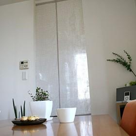 SunnyDayFabric のれん Wガーゼチェックのれん チェック ベージュ 約72cm幅×170cm丈