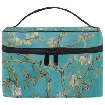 メイクポーチ 花咲くアーモンドの木の枝 化粧ポーチ 化粧箱 バニティポーチ コスメポーチ 化粧品 収納 雑貨 小物入れ 女性 超軽量 機能的 大容量