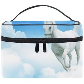 収納バッグ 化粧ポーチ レディース 多機能 大容量 防水白い馬雲ジャンプ