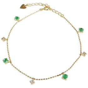 真珠の杜 エメラルド ゴールド K18 ダイヤモンド ブレスレット レディース