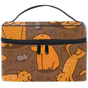 Orange Cats化粧ポーチ トラベルポーチ 収納ポーチ 旅行ポーチ 小物入れ マルチポーチ かばん 防水 旅行