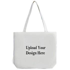 カスタムトートバッグ、追加Your Pictureロゴテキスト印刷、再利用可能なキャンバスショッピングバッグ、Great Personalized Gift ホワイト