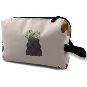 犬たちと花 化粧バッグ 収納袋 女大容量 化粧品クラッチバッグ 収納 軽量 ウィンドジップ