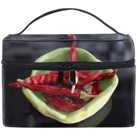 便携式ペッパーチリドライプレート メイクボックス 收納抜群 大容量 可愛い 化粧バッグ 旅行