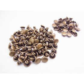 【jewel】両面カシメ 小 短足 頭6mm 足6mm 100個セット アンティークゴールド 金古美 真鍮