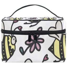 ユキオ(UKIO) メイクポーチ 大容量 シンプル かわいい 持ち運び 旅行 化粧ポーチ コスメバッグ 化粧品 ハチ 花柄 レディース 収納ケース ポーチ 収納ボックス 化粧箱 メイクバッグ