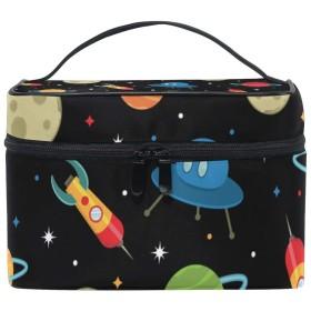 ユキオ(UKIO) メイクポーチ 大容量 シンプル かわいい 持ち運び 旅行 化粧ポーチ コスメバッグ 化粧品 宇宙船 レディース 収納ケース ポーチ 収納ボックス 化粧箱 メイクバッグ