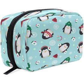 Carrozza 化粧ポーチ メイクボックス ポーチ 仕切り レディース 女の子 学生 おしゃれ ペンギン 動物 雪柄 冬 化粧バッグ メイクポーチ 化粧ボックス コスメバッグ 小物ケース かわいい