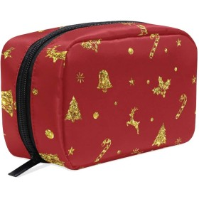 メリークリスマスゴールデンエルク 化粧ポーチ メイクポーチ コスメポーチ 化粧品収納 小物入れ 軽い 軽量 旅行も便利 [並行輸入品]