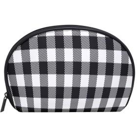 ALAZA 黒と白の格子縞 半月 化粧品 メイク トイレタリーバッグ ポーチ 旅行ハンディ財布オーガナイザーバッグ