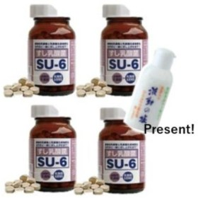 すし乳酸菌 SU-6 150粒 4セット 波動の塩40g付き