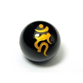 【hinryo】AA 梵字 12mm オニキス 彫り 天然石 パワーストーン (g3-443W カーン:酉年)